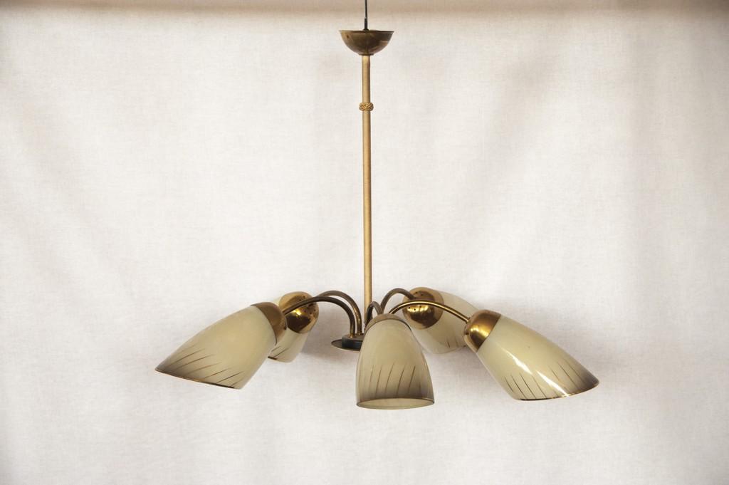 Art. LL9 - Lampadario anni 50 in vetro e ottone a 5 bracci orientabili