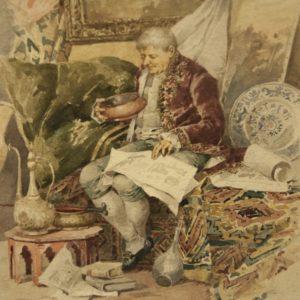 """Art. PIT 10 - """"L'Antiquario"""" acquerello su carta di Pierre Albert Roberti (Bruxelles 1811 - 1864) misura 37x30"""