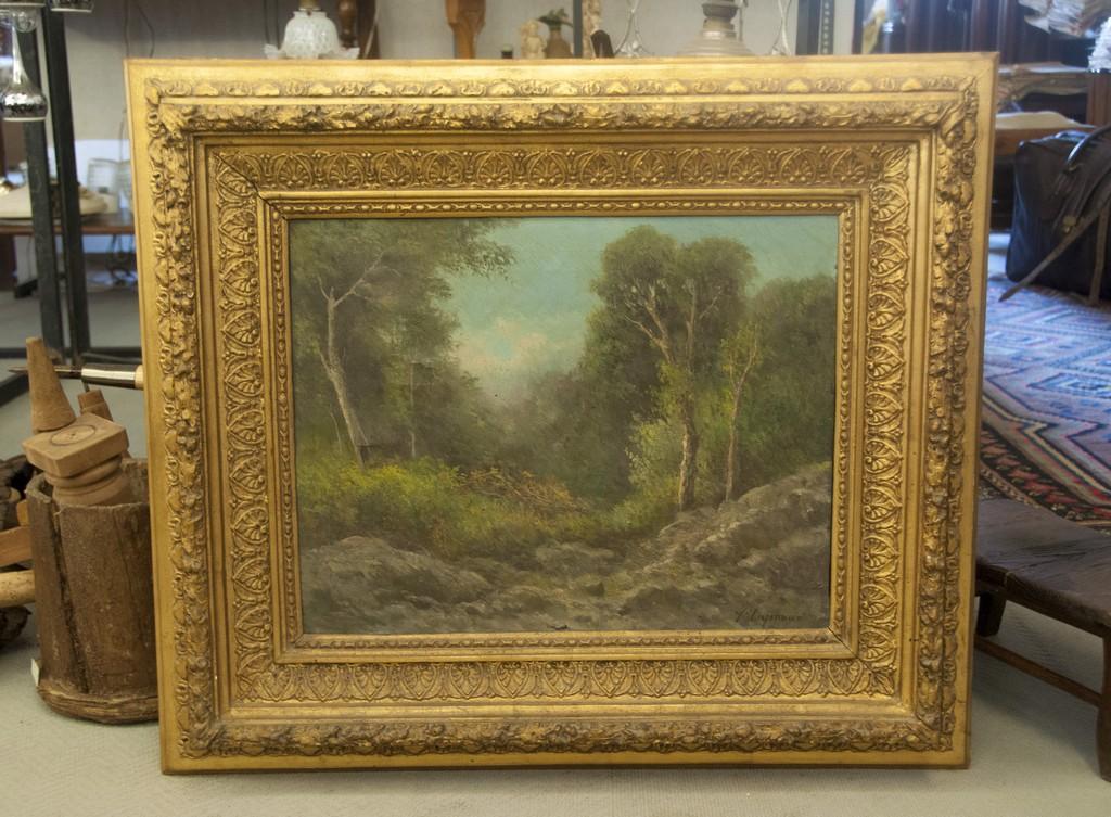 Art. PIT 12 - Bosco dipinto a olio su tela, scuola di Barbizon. Francia, seconda metà 800' misura: 78x67