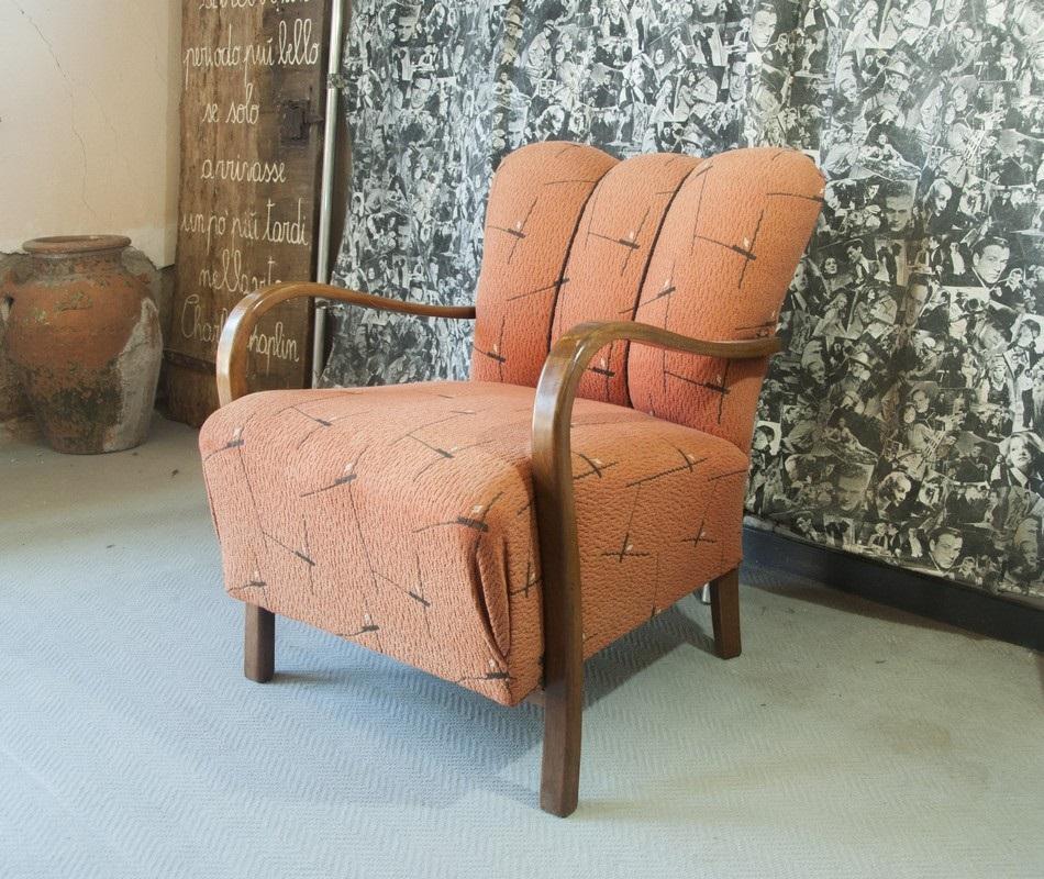 Poltrone Art Deco Anni 60.Art Pol15 Poltrona Art Deco Con Tessuto Originale Braccioli In Faggio Curvato Italia 1930 40