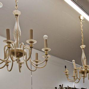 Art.LL.6 - Coppia di lampadari in vetro di Murano a 10 bracci, 1950 circa, ottime condizioni.