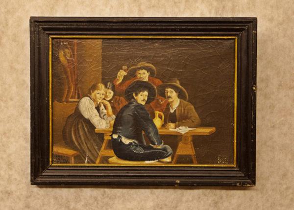 """Art.PIT.5 - """"Interno Contadino"""" olio su tela entro cornice originale. Firmato e datato """"Merke Poelstra 1893"""". Olanda. Misure: 60 x 45."""