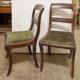 Art.SE.6 - Sei sedie direttorio, Francia, fine 700 – inizi 800, in mogano, gambe a doppia sciabolatura,seduta in tessuto.