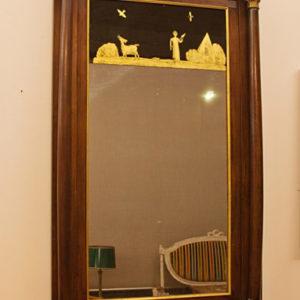 Art.SP.5 - Specchiera Impero, Toscana 1800 circa, in legno di ciliegio massello e in listra,piedi capitelli e cornici dorate