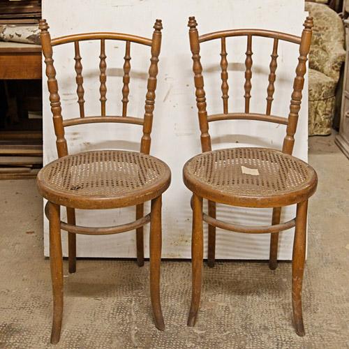 """Art.THS.4 - Sei sedie tipo Thonet marchiate """"K.K. FABRIK APL WIEN"""", in faggio curvato e paglia di Vienna. Condizioni pressoché perfette. Austria inizi 900."""
