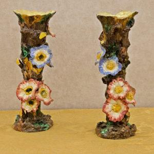 Art.VEC.1 - Coppia di barbonites napoletane in terracotta policroma smaltata