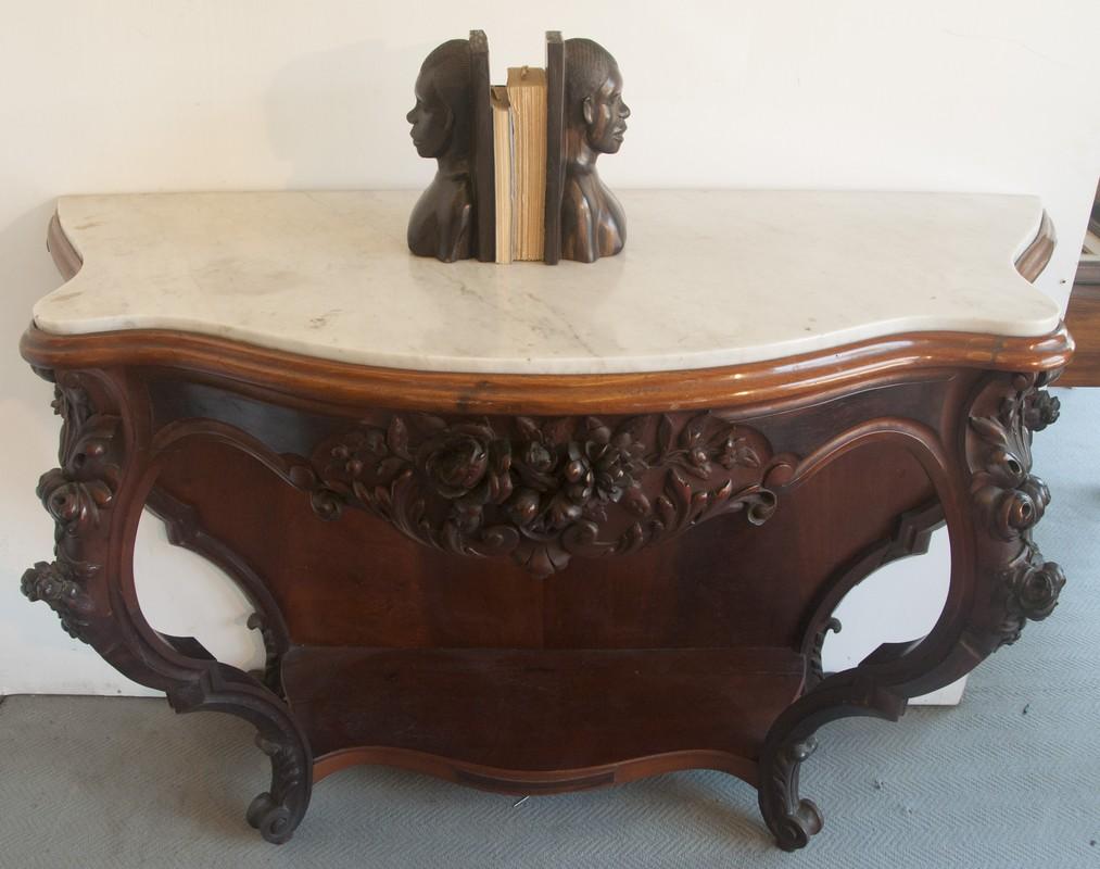 Art. CNS11 - Grande Consolle Luigi Filippo in legno di mogano e piano in marmo bianco