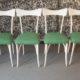 Art. SE13 - 4 sedie modernariato anni 50 rivestite con tessuto originale dell'epoca, Italia anni 50