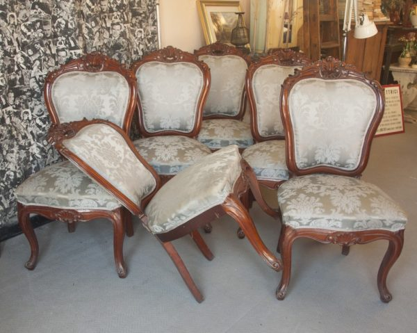 Art. SE14 - 6 sedie d'epoca stile Luigi Filippo, legno di Mogano. Napoli 1860/70