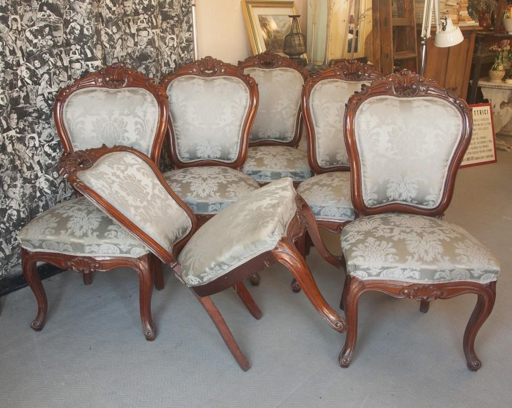 Divano E Poltrone Luigi Filippo art. se14 - 6 sedie d'epoca e stile luigi filippo, legno di mogano. napoli  1860/70